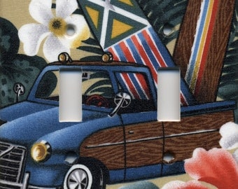 Woody Surf Truck With Surfboard Double Light Switch Plate