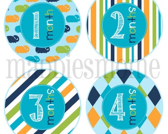Monthly Baby Boy Stickers Baby Month Stickers, Monthly Bodysuit Stickers Whale Nautical Argyle Blue Orange Green (Will)