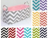 "CUSTOMIZE Long Storage Bin 16""x6""x7"" Organizer, Basket,  Diaper Caddy Zigzag Chevron with Solid Color Lining"