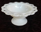 Vintage Lace Edge Milk Glass Compote - Great for Candy Buffet or Candy Dish for Wedding Decor -Home Decor by Anchor Hocking