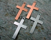 METAL CROSS STAMPING Blanks, 4 in Choice of Metal, Charm with Ring, Ready to Ship!