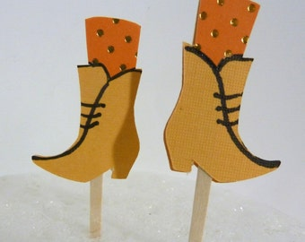 Yellow Short Boot  Cupcake Toppers