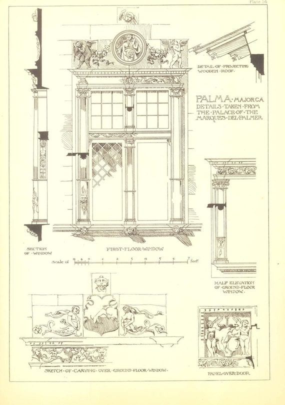 Architectural details drawing andrew n prentice vintage print for Architectural detail drawings