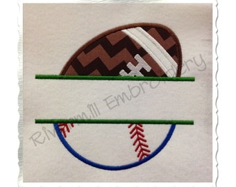 Split Ball Half Football Half Softball / Baseball Applique Machine Embroidery Design - 4 Sizes