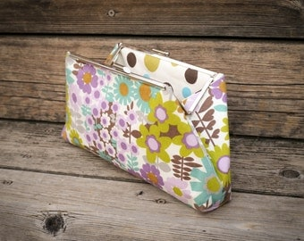 Clutch Bag Retro Flowers Purple Teal and Green