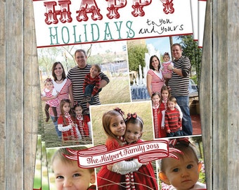Happy Holidays Card, holiday photo collage card, digital printable file
