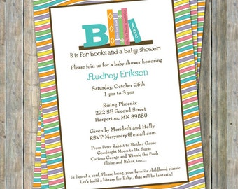 Book Baby Shower Invitation, Dr.Suess, digital file