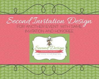 Second invitation version with same design and honoree, printable file