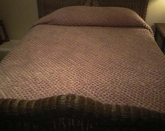 """SALE - Handmade """"MAUVELOUS"""" Big POPS Vintage Chenille Bedspread - Cutter or Not - Free Shipping"""