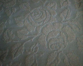 """Fieldcrest BLUE and WHITE Cabbage Rose Vintage Chenille Bedspread Fabric  24"""" X 24"""""""