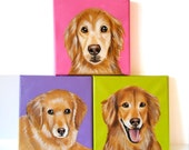 Custom Pet Portrait Set of 3 / Custom Dog Portrait - 1 to 3 Pets - Close-Up Solid background (6x6x0.75inch)