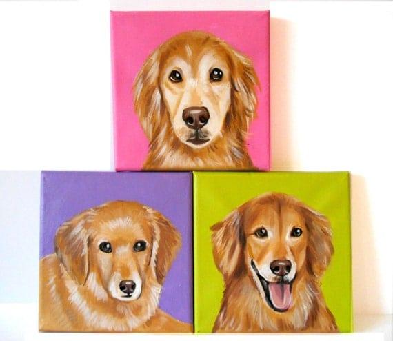Custom Pet Portrait Set of 3 / Custom Dog Portrait - 1 to 3 Pets - Close-Up Solid background (6x6x0.75inch)