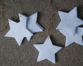 White Star Christmas Ornaments - Traditional Winter Holiday Decorations - Set of 6