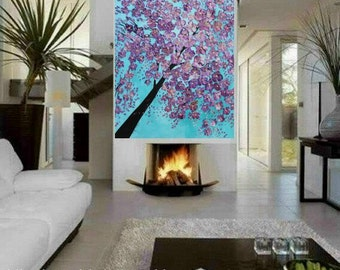 Oil, painting Abstract Original  48x36 palette knife Lavender cherry Tree  impasto oil painting by Nicolette Vaughan Horne