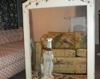 A FINE VINE / Darling white wood mirror with bow, vine and water droplet detailing