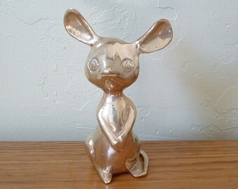 Vintage Brass Mouse Figurine Mouse With Large Ears Nursery Decor
