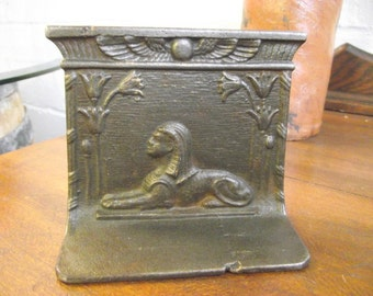 Bradley and Hubbard Egyptian Revival Sphinx Bookend Cast Iron - Doorstop