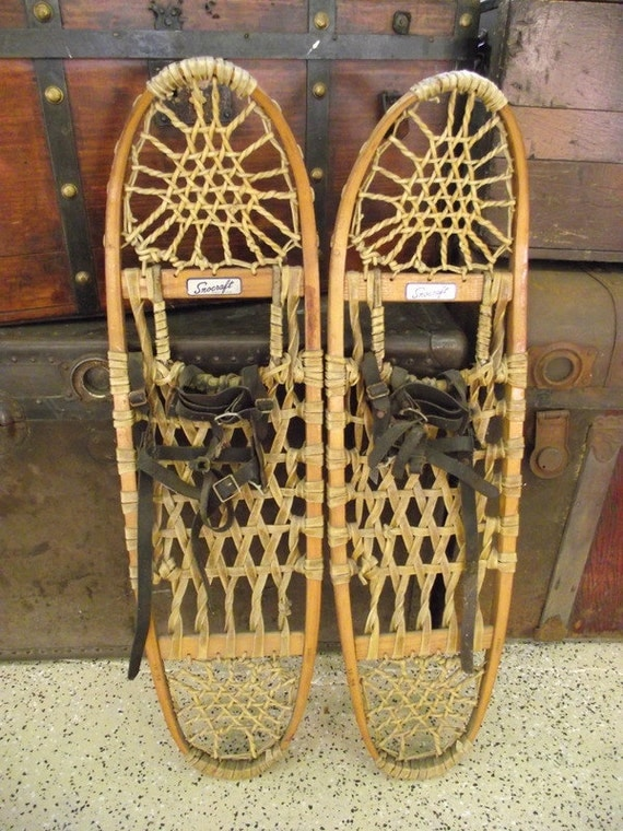 Wood Snowshoes Snocraft Norway Maine Rustic Lodge Decor