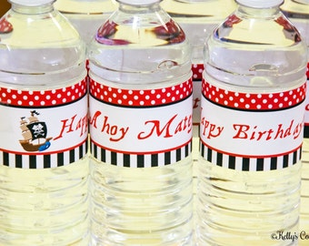 Pirate Water Bottle Wraps, Instant Download, Printable, Digital