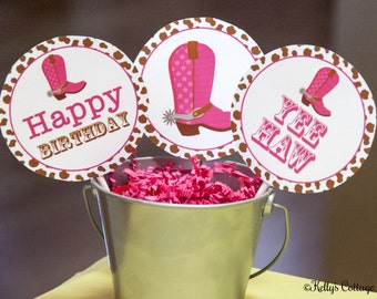 Cowgirl Birthday 4 Inch Party Circles, Instant Download, Printable, Digital