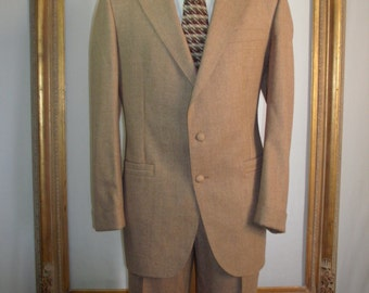Vintage 1970's Le Baron California Clothes Brown Wool Suit - Size 46