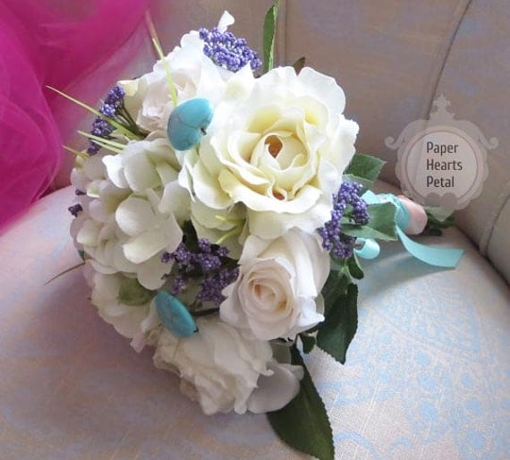 Hand-tied Silk Wedding Bridal Roses and Garden Flower Bouquet - Customize to your theme or colors