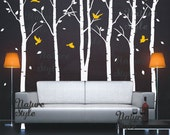 Birch Tree Forest Wall Decal birds Birch trees nature Forest Tree Wall Vinyl for Nursery Kids Childrens Room -6 Birch Tree with Flying Birds