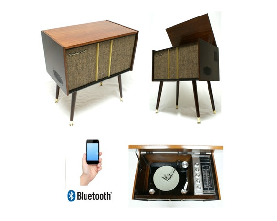 Vintage Mid Century Console Record Player Bluetooth Ipod