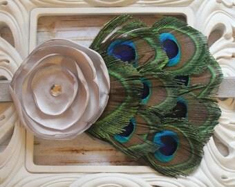 Gray Peacock Baby Headband - Newborn Headband - Photo Prop - Silver Flower - Gray Feather Headband - Peacock Bow- Infant Headband