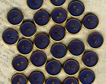 26 Vintage Gold & Navy Blue Sewing Buttons 5/8 inch 15mm Lot