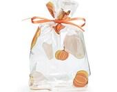 "Small ""FALL PUMPKINS"" Print Cello Treat Snack Goodie Bags Cellophane Baggies"