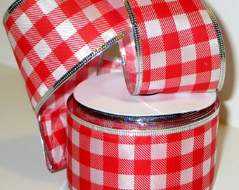 """5YDS Red """"Picnic Checkers"""" Satin Ribbon 2-1/2""""wide Wired Silver Foil Edge"""