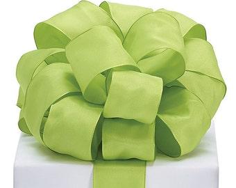 "5YDS Green Taffeta 1-1/2"" Wired Edge Ribbon (FREE SHIPPING!)"