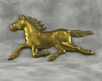 Vintage Brass Wall Hanging Running Horse