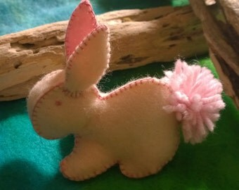 Bunny Rabbit  in Pale Pink Felt