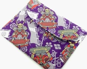 SALE iPad 3 case Great Men's gift idea iPad cover sideway long Flap closure Japanese Gadget case Kimono Cotton fabric Samurai purple
