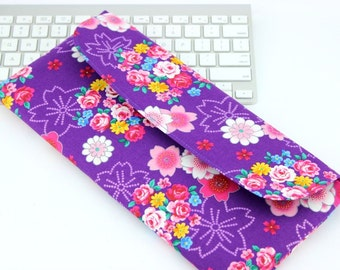 Geeky Gift Idea, Apple Wireless Keyboard Case,Gift For Her, Kimono Fabrics, Flowers Purple