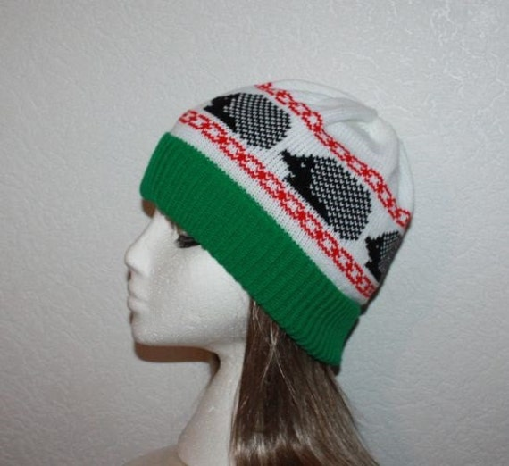 Emerald Green and White Beanie Hat with Black Hedgehogs