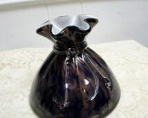 Art glass vase copperfoil cased glass drawstring bag vase 1980s