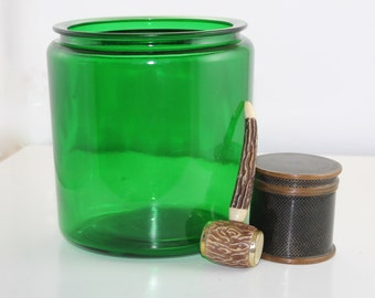 Vintage Emerald Glass Counter Jar
