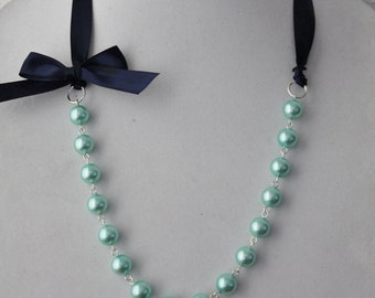 Turquoise Pearl and Navy Ribbon Bow Necklace