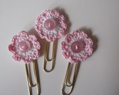Book Mark Paper Clips Crocheted Flower Add A Smile To Your Office Personal Use Or Book Mark Great Gift