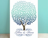 Winter Guest Book Canvas - Wedding Guest Book Alternative -Seaswik- Peachwik Interactive Gallery Wrapped Canvas - 200 guests Wedding Tree