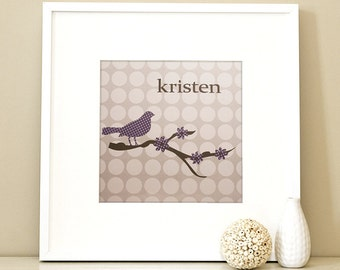 Modern Children's Paper Wall Art - Bird on a Branch or Personalized - 12 x 12 - Grey and Purple or Custom Color