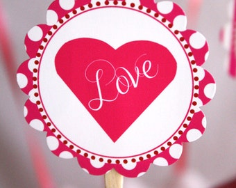 Valentine's Day Party Sweet Love Circle Heart Cupcake Topper DIY Printable Digital File INSTANT DOWNLOAD
