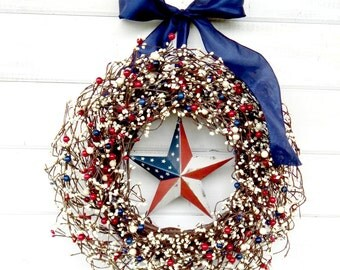 LARGE Patriotic RED  WHITE & Blue Door Wreath-Military Wreath-Holiday Door Decor-Patriotic Home Decor-Scented Wreaths-Custom Holiday Decor