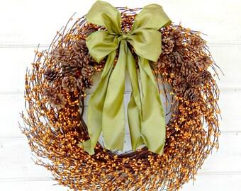 FALL Wreath-Fall Decor-PINECONE Wreath-Autumn Door Decor-Thanksgiving Wreath-Rustic Door Decor-Fall Wreaths-Custom Made Gift-Scented Wreaths
