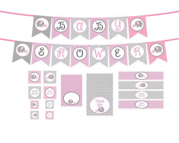 ... Elephant Baby Shower Decorations Package INSTANT DOWNLOAD DIY. Updated:  ...