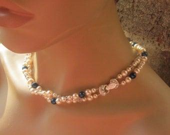 Wedding Jewelry Double Strand Necklace Swarovski Pearls Cream Rose and Dark Blue Bridal Necklace