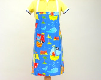 Child Pvc Apron - Blue Pirates Ships & Whales, Toddler Apron, Oilcloth Apron, Waterproof Apron
